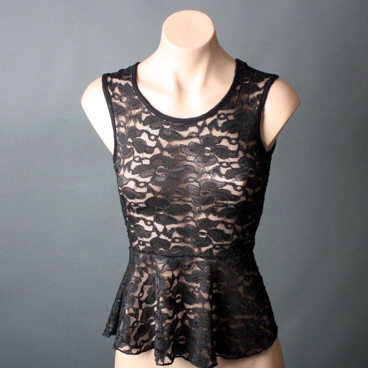 Black Floral Lace Keyhole Back Sleeveless...If only I were SKINNY.....~~~~~