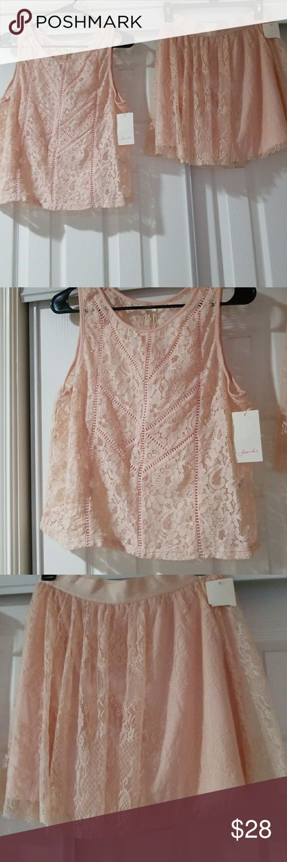 Matching lace top and skirt in peach color . Brand new peach colored sleeveless lace top with matching lace lined mini skirt , not to short. Top is m, skirt is small. Frenchi Dresses Mini