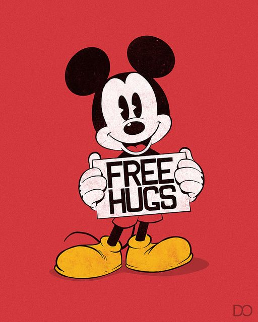 Mickey - Free Hugs. I totally want to go to Disneyland with this shrit