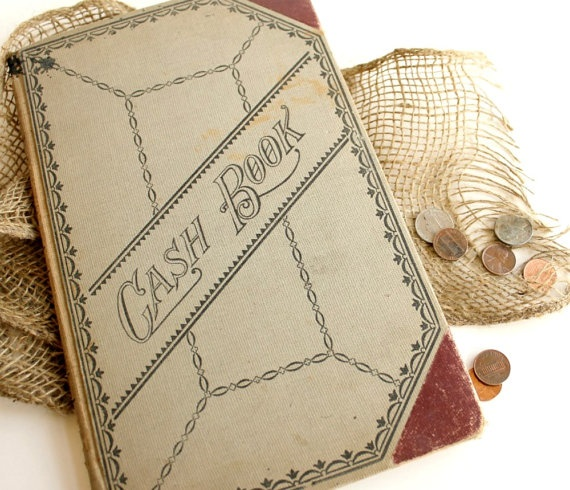 Antique 1910 Cash Book. Historical Ledger. $74.00, via Etsy.