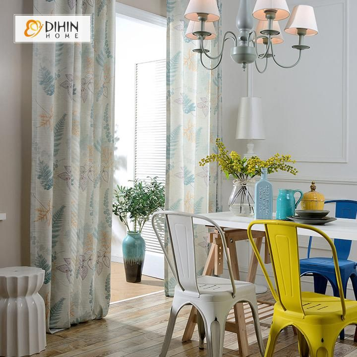 Dihin Home Fallen Leaves Printed Curtain Cotton Linen Blackout Grommet Window Curtain For Living Room 52x63 Inch 1 Panel Curtains Living Room Kids Room Curtains Printed Curtains #print #curtains #living #room