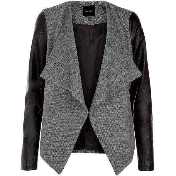 Black Textured Contrast Leather Look Sleeved Blazer ($40) ❤ liked on Polyvore featuring outerwear, jackets, blazers, coats, casacos, black faux leather blazer, faux leather sleeve blazer, black blazer, open front blazer and vegan leather jacket
