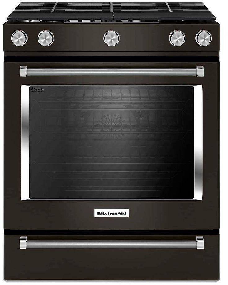 Kitchenaid 30 black stainless steel slidein gas range