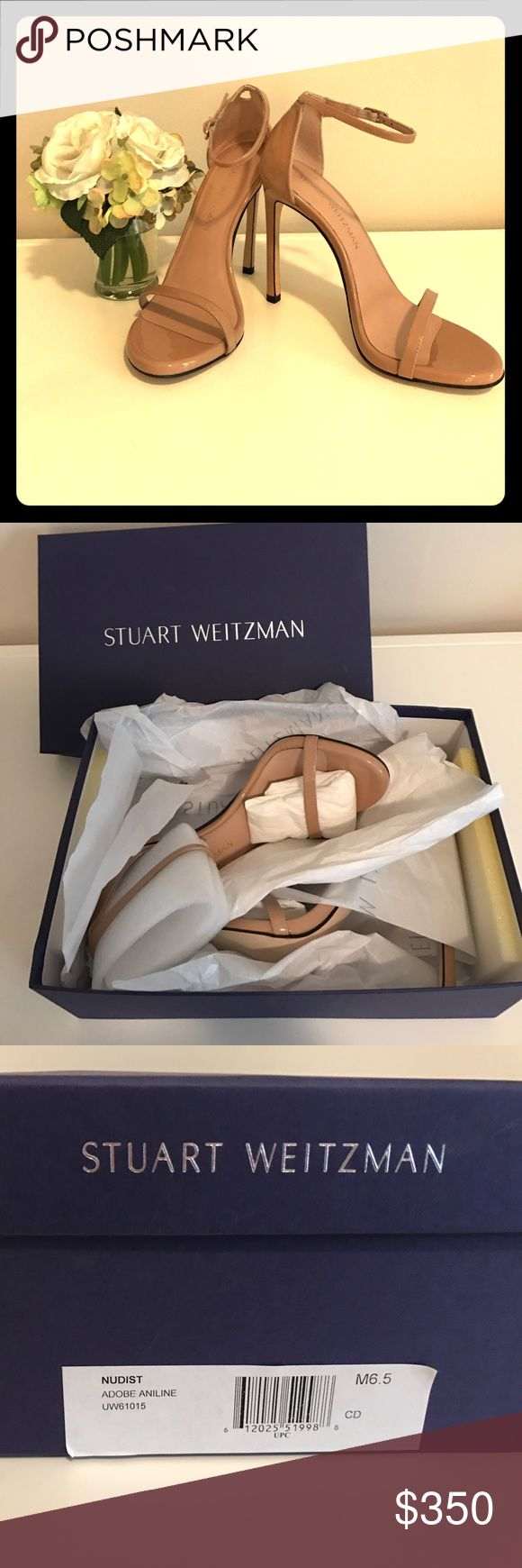 Stuart Weitzman Nudist Heels Rock the runway or your next night on the town in these GORGEOUS heels. This celebrity favorite will be your new favorite wardrobe staple. This neutral color, Adobe Aniline, will compliment every item in your closet. Stuart Weitzman Shoes Heels
