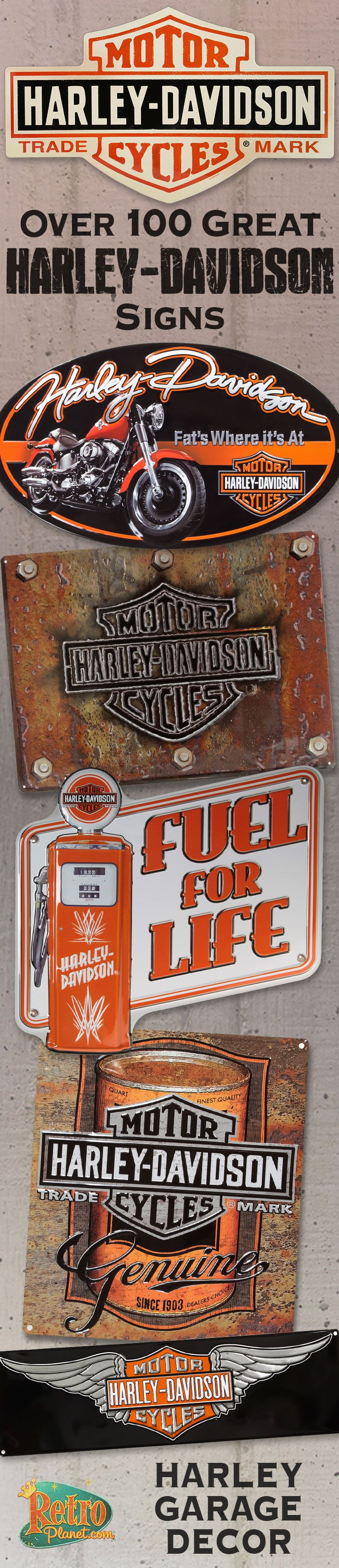 Harley-Davidson signs are a great way to create interesting wall art for decorating a garage, game room, man cave or just about any room. Many of our retro Harley-Davidson signs capture the long history that Harleys have played in being a classic American icon.
