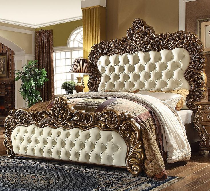 Homey Design HD-8011EKBED King Size Bed with Large ...
