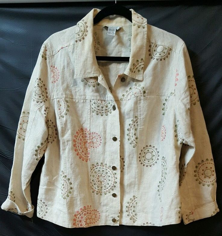 Paraphrase Shirt Jacket Size 2x Beige Embroidered Circle Linen Pocket L S Clothe Women Shirts Custom Clothing