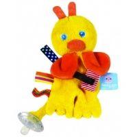Dit vrolijke eendje is het vriendje voor ieder kind. Door de vrolijke kleuren en het zachte materiaal is elk kind er zoet mee. Het speentje kan aan de krulstaart bevestigd worden en hierdoor zal uw kind de speen nooit mee kwijt raken. De knuffel is 15 cm lang. http://www.geschiktspeelgoed.nl/product/snoozebaby-speen-knuffeltje-flo/