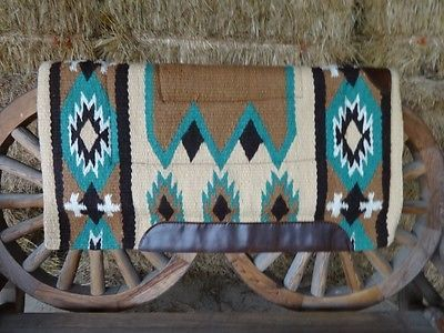 STUNNING WOOL WESTERN COWBOY SADDLE HORSE RODEO SHOCK CUTTER THERAPEUTIC PAD