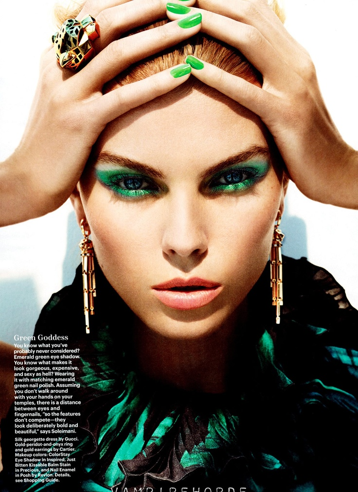 Maryna Linchuk by Alexi Lubomirski for Allure August 2012: Vogue Russia, Maryna Linchuk, Color, Emerald, Makeup, Green, Beauty, Alexi Lubomirski, Eye