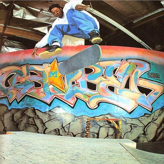 Skater Kareem Campbell circa 1995 ( golden areas of skateboard). #worldindustries #90s #skate #skateboard #skateshop