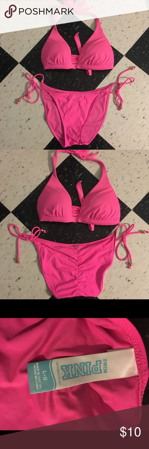 Vs Pink bikini Victoria secret pink hot pink bikini push-up top with removable pads string tie bottom with gathering in back really cute suit in great condition warn onus PINK Victoria's Secret Swim Bikinis