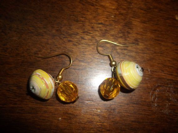 Paper bead earrings unique and unusual by ursimplycharming on Etsy