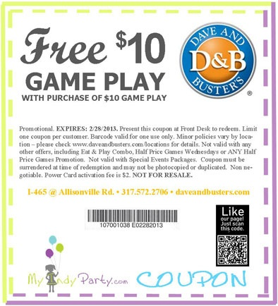 Dave Buster S Castleton Free 10 Game Play Games To