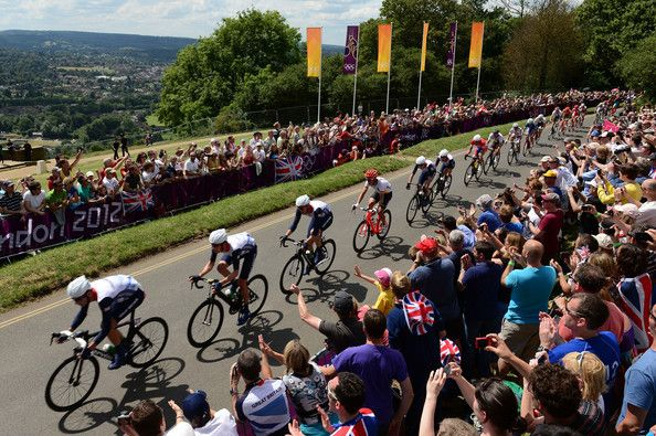 (L-R) David Millar, Bradley Wiggins, Ian Stannard of Great Britain, Tony Martin of Germany, Christopher Froome and Mark Cavendish of Great Britain make their way up the climb of Box Hill during the Men's Road Race Road Cycling on day 1 of the London 2012 Olympic Games on July 28, 2012 in London, England.