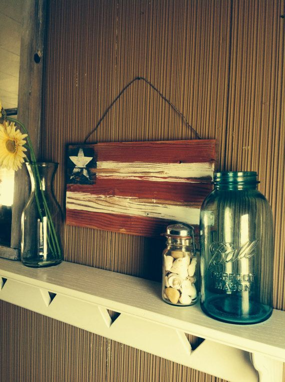Patriotic Fourth of July rustic flag decor by BrandNewToMe on Etsy, $22.00