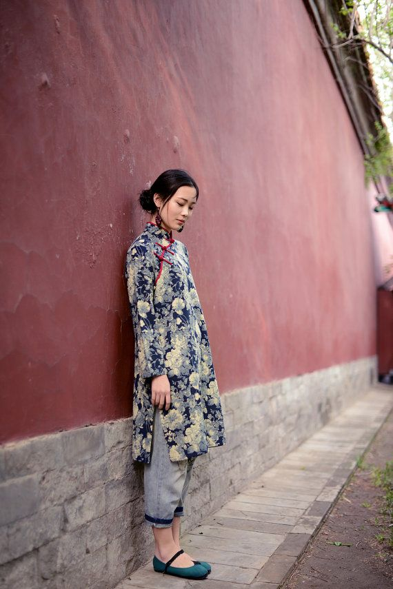 linen dress from china Fashion qipao . Blue printing by TDJasmine