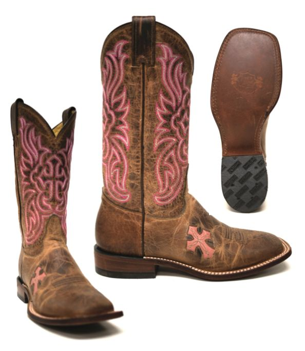 Tony Lama Women's Tan Saiget Worn Goat w/ Cross Boots -- Tony Lama is known for their boot craftsmanship and these Women's boots are no exception! With the pink side cross and stitched cross shaft these boots can be casual and flirty. | www.southtexastack.com
