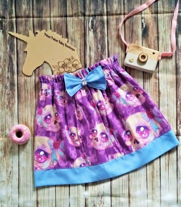 Skull High Waist Purple And Blue Skirt