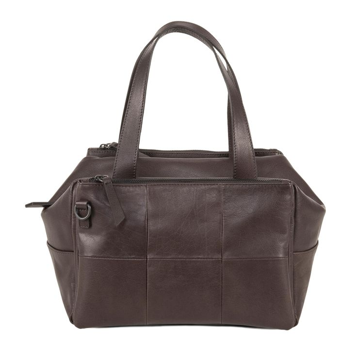 www.desireelupi.com /// CECILIA _ col. Dark Brown  Cube&Cute, Cecilia is a special bag: can be a handbag or a shoulder bag or also turn into a pochette, just removing and joining the two front pockets. 100& genuine leather & handmade in Italy