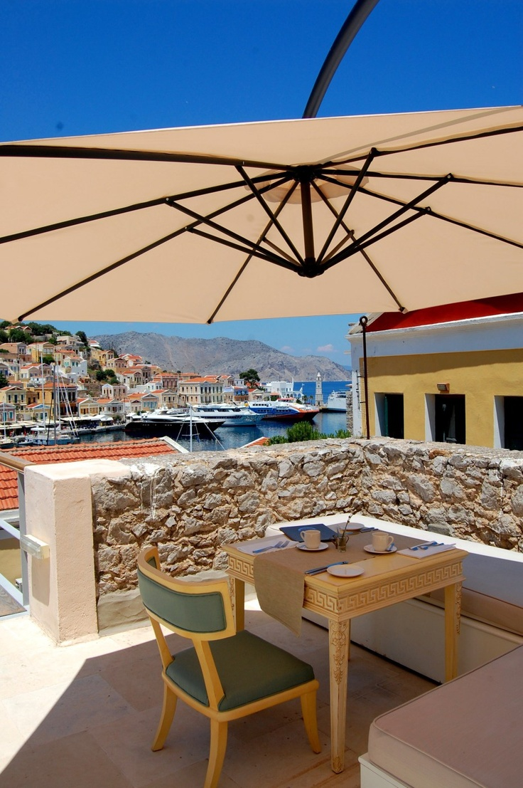 Breakfast with a view at the Old Markets, Symi