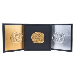 Handmade Wall or Table Ornament Athenian Owl Coin Design Set of 3 pcs, Gold & Silver Patinated, Framed 11.8'' (30cm)