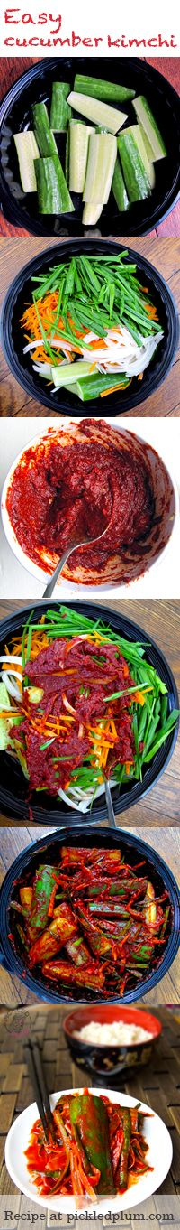 Recipe for easy cucumber kimchi (spicy!) The perfect vegetarian snack! For Gluten-free Substitute soy sauce for liquid amino or tamari and use Red boat fish sauce - Recipe available at http://pickledplum.com