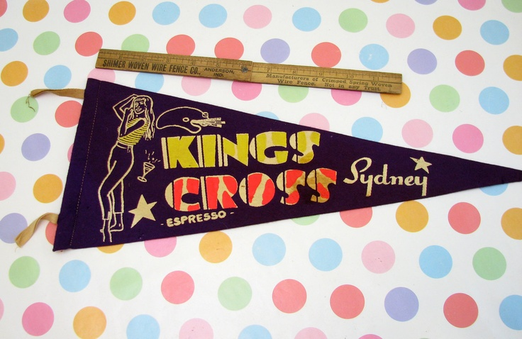 Vintage 1950s Souvenir Kings Cross Sydney Australia Pennant