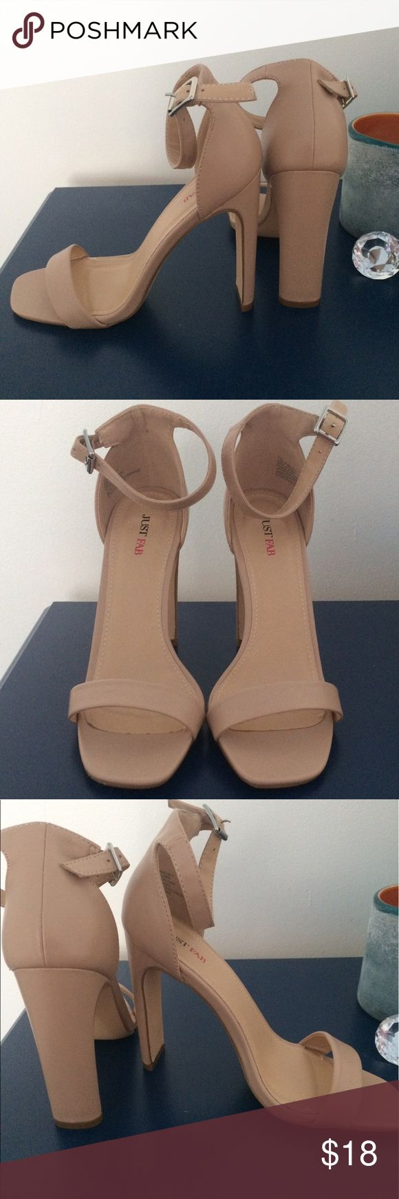 "Beige heel sandals JustFab sky-high beige sandals. Size 6.5. Ankle strap. Approx 4.5"" heel. I love these shoes, but they are too high for me. These shoes have never been worn outside the house. NWOT. JustFab Shoes Heels"