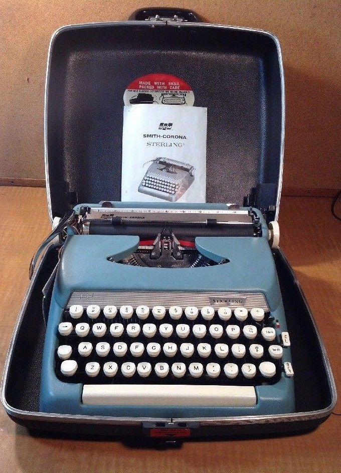 VINTAGE SMITH-CORONA STERLING MANUAL PORTABLE TYPEWRITER STARMIST BLUE WORKING #SmithCoronaSterling