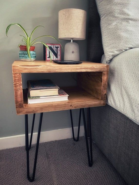 Reclaimed Scaffold Board Bedside Table With Hairpin Legs In 2020 Bedside Table Diy Crate Bedside Table Wooden Bedside Table