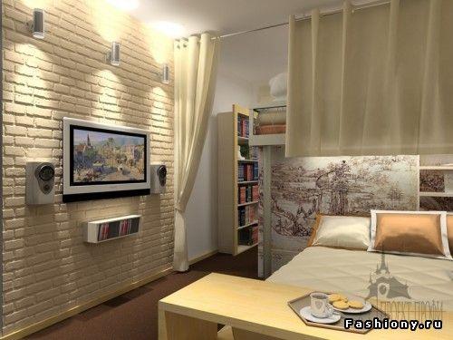 white brick wall interior room