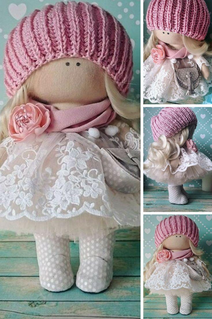 Interior doll Fabric doll Handmade doll Rag doll Love doll Nursery doll Bambole di stoffa Tilda doll Muñecas Pink doll Cloth doll by Elvira