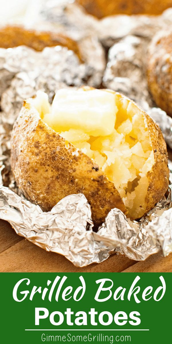 These Baked Potatoes are brushed with butter than seasoned with salt, pepper, and garlic powder. Wrap them in tinfoil and grill them until they are light and fluffy inside! You'll even eat the skins they are so delicious! #grill #sidedish #potatoes #recipes #recipeideas via @gimmesomegrilling