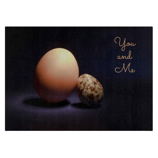 Сhicken and quail eggs in love. Text «You and Me». Cutting Board #cuttingboard #chicken #quail #eggs #love #couple #lovers #beige #darkblue #stilllife #photography #darkness #funny #photo #food #kiychen #valentinesday #youandme #customized #personalized #graphics #artwork #buy #sale #giftideas #zazzle #discount #deals #gifts #shopping