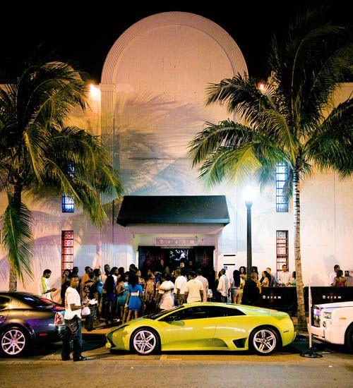 VIP parking. A Lamborghini sits parked outside Dream night club in Miami Beach, Florida. Photo by South Beach bad boy, Miami Fever. (Miami Beach, Florida)