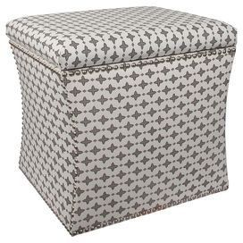 "Upholstered storage ottoman with nailhead trim and a pine wood frame. Handmade in the USA.   Product: Storage ottomanConstruction Material: Solid pine, polyurethane and polyester foamColor: Steel maconFeatures:  Handmade in the USALift off lid Dimensions: 17"" H x 19"" W x 19"" DCleaning and Care: Spot clean only"