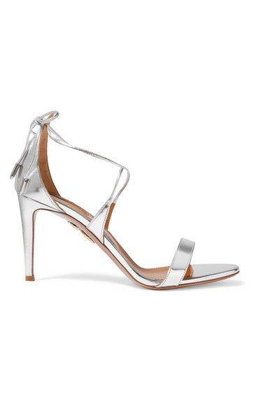 Aquazzura - Linda Mirrored-leather Sandals - Silver - IT