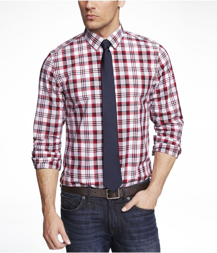 Modern fit plaid dress shirt express tempest red 69 for How to find a dress shirt that fits