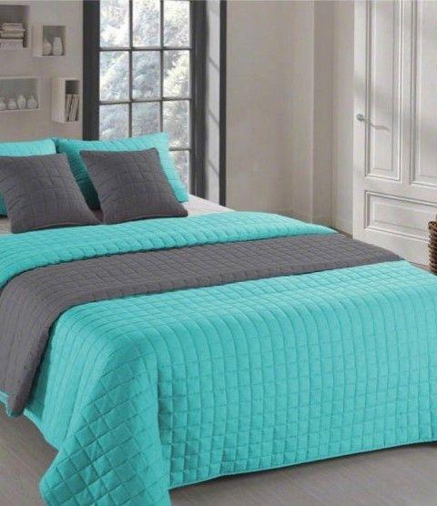 Dvojfarebne obojstranne prehozy na postel v zeleno sivej farbe (1)