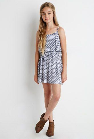 Cross Print Flounce Dress (Kids)   Forever 21 girls - 2000154377