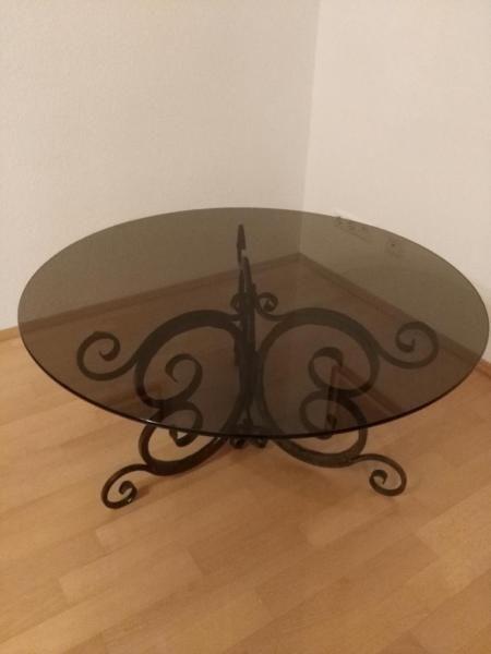 repräsentativer runder Tisch mit grauer Rauchglas-Platte (ohne Macken!!!), aufwendig...,EYE CATCH!! Sammlerstück! repräsentativer Glastisch in Baden-Württemberg - Bad Mergentheim