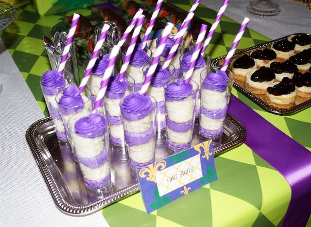 Purple cake shots at a Mardi Gras Party #mardigras #cakeshots
