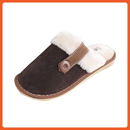 Indoor Slippers, FTXJ Winter Womens Men Lover Warm Soft Plush Antiskid House Floor Slippers (9.5-10.5, Brown) - Slippers for women (*Amazon Partner-Link)