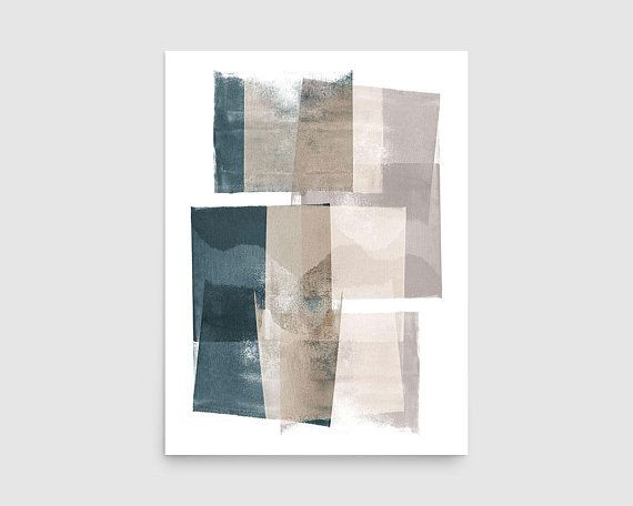 Muted Abstract Art Teal Art Print Geometric Abstract
