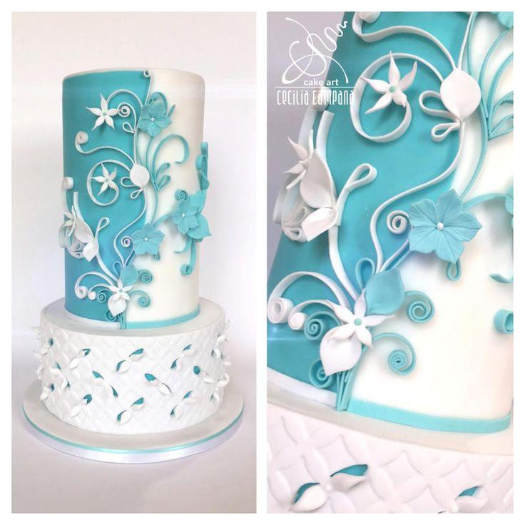 White&Tiffany wedding by Cecilia Campana - http://cakesdecor.com/cakes/265367-white-tiffany-wedding