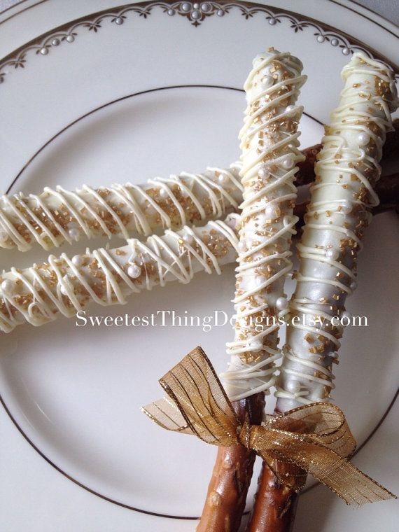 12 Chocolate Covered Pretzel Rods  / Favor Pops by The Sweetest Thing Designs & Events on Etsy, $18.00
