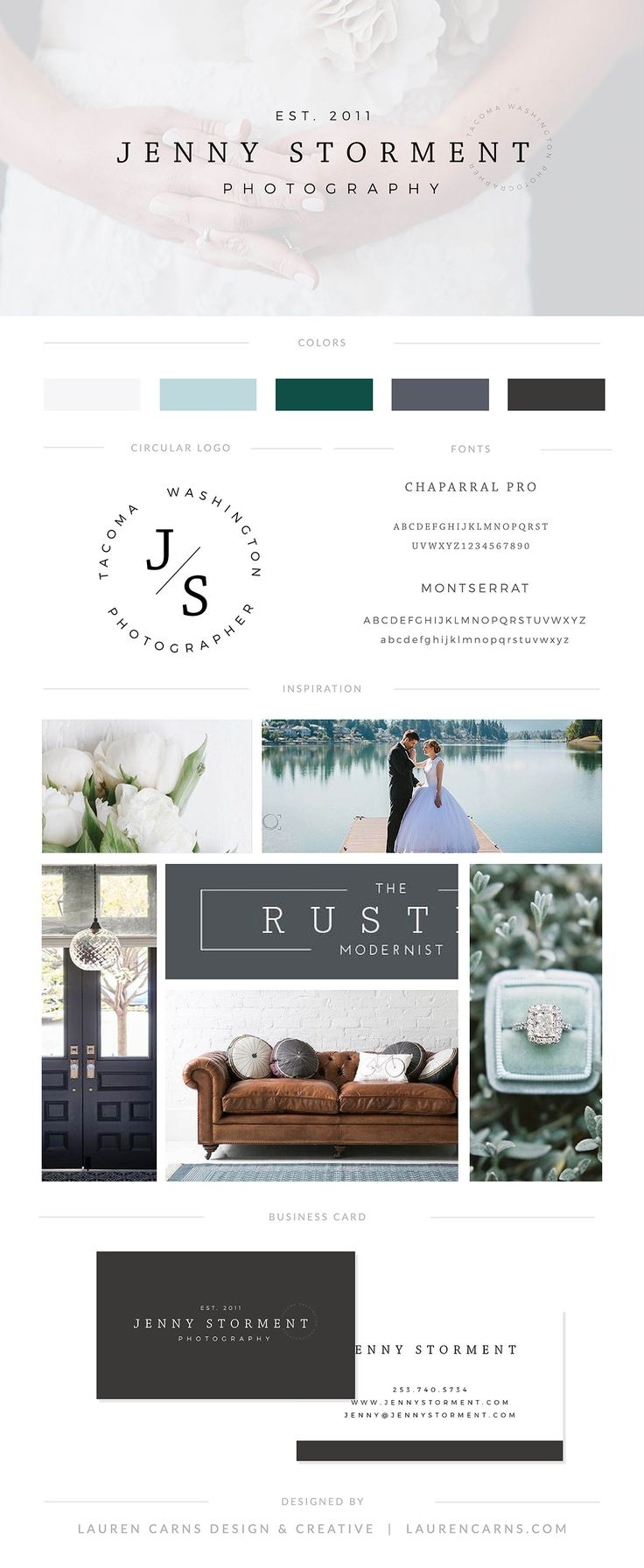 Jenny Storment Brand Board | Lauren Carns Branding & Design | Pacific Northwest wedding photographer brand, modern, rustic, muted, sage, grey, blue, crisp, simple, clean