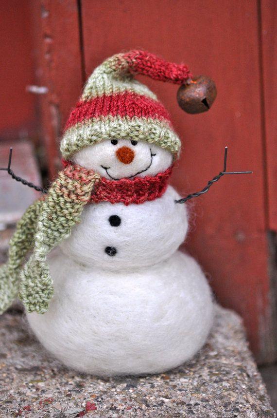 Bonhomme de neige l'aiguille feutré des par BearCreekDesign sur Etsy