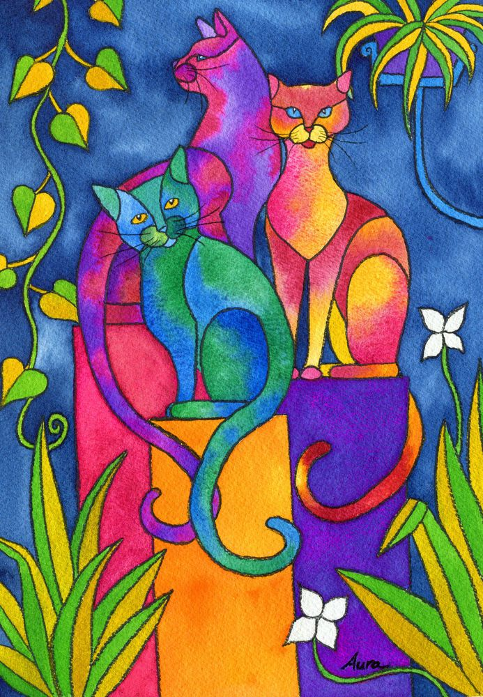 Watercolor painting cats whimsical colorful leaves unique ORIGINAL art by Aura #Realism